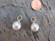 14KT Yellow Gold & Paspaley South Sea Pearl Add to Hoop Earring Charms 13 mm NEW
