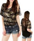 Ladies Gold Stripe Chiffon Wrap Top Size 8 10 12 14 S M L NEW BLACK TEAL RUST