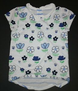 Used Gymboree Girls 8 year Top White Pan Collar Blue Floral Print Soft Top Tee