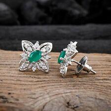 Flower Earrings Green Emerald Stud Earring White CZ Jewelry For Valentine Gift