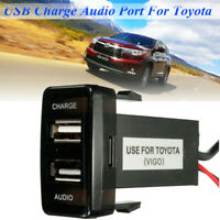 Dual USB Audio Charger Port & Audio Input for Toyota FJ Cruiser Hilux Prado 120