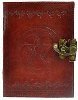 "5""x7"" Locking Leather Bound Pentagram Book of Shadows, Journal, Diary!"