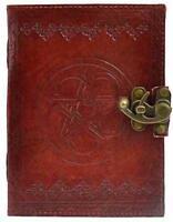 "5""x7"" Locking Leather Bound Pentagram Book of Shadows, Journal, Diary!"