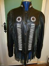 Womens Attraction Black Fringed Biker Western Style Real Leather Beaded Jacket