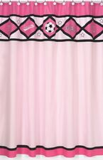 SOCCER PINK BALL GIRLS SPORTS KIDS BATH FABRIC SHOWER CURTAIN SWEET JOJO DESIGNS