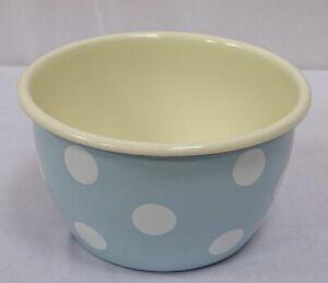 Emaille Schüssel, Schale, Salatschale, Müslischale Tupfen Pastell Hellblau 15 cm