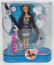 2005 BARBIE FASHION FEVER STYLES FOR 2 SILVER & BLACK PARTY DRESS NRFB