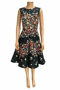 Dolce & Gabbana Black Red Floral Print Jacquard Sleeveless Cocktail Dress Sz 44