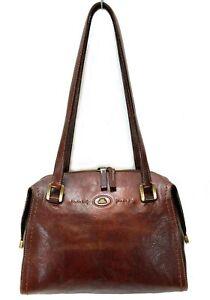 THE BRIDGE Italian Leather Twin Strap Zip Top Shoulder Bag