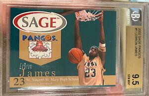 2002 2003 LeBron James ROOKIE Sage Pangos 9.5 BGS 10 Sub GEM MINT High School