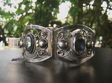 VINTAGE MEXICAN PANEL BRACELET.  STERLING.  ABALONE.  PAUA SHELL.