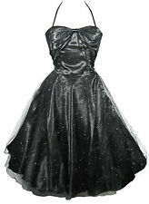 HELL BUNNY Black Sparkly ROXANNE Party Dress! 1950's Ballgown! Size L UK 10-12