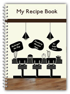 A5 DINER SWEET PUDDING RECIPE PLANNER, WRITE YOUR OWN RECIPES, 100 PAGE BOOK
