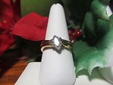 Unique Gold Plated Womens Girls CZ  Marquee Cut Fashion Ring Sz 10.25
