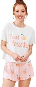 Milumia Women Graphic Letter Print Short Sleeve Tee Tops and Shorts Cute Sleepwe