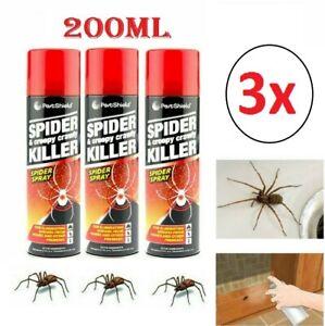New 3 x Spider Bugs & Creepy Crawly Repellent Killer Spray Pest Control 200ml
