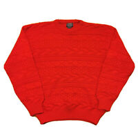 Vintage 60s Sweater Men's Large Red Barnaby Cosby Style Hip Hop Solid Pullover