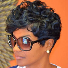Short Black Brown  AVERAGE black Women FrontCurly Hairstyle Synthetic Hair Wigs