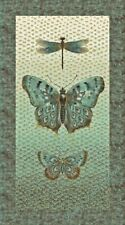 "23"" Fabric Panel - Northcott Flight of Fancy Moth & Dragonfly Scene Earth"