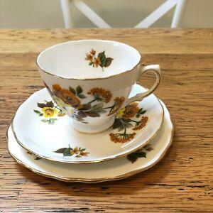 Vintage Queen Anne Tea Trio CSP Bone China Ridgway 8287 Roses England FREE POST