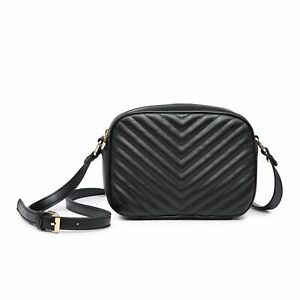Small V- Quilted Messenger Crossbody Shoulder Bag Girl Lady Faux Leather UK