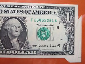 $1 1995 federal reserve note graded error:  fold over  26-105