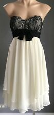 Pre-owned SEDUCE Black Lace & Cream Tier Strapless Dress with Bow Size 12