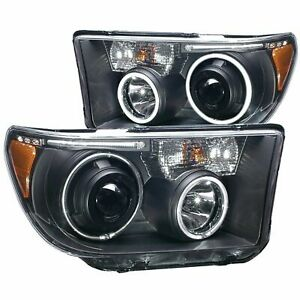 Anzo Projector Headlights Halo with Led Bar Black (CCFL) For Toyota Tundra 07-13