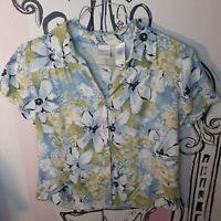 Womens Size 10 Emma James Floral Short Sleeve Top Shirt Blouse White Green Blue