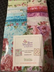 "Rose Whispers by Eleanor Burns (40) 2.5"" strips -Jelly Roll Benartex"