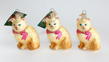 Lot of 3 Brand New Merck Himalayan Kitty Cat Old World Glass Christmas Ornament