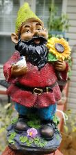 """New listing #SoilBrothers! Adorable 9.5"""" Black/African Standing Gnome Holding A Sunflower"""