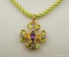 14K GOLD MULTI-GEMSTONE CROSS WITH 14K GREEN SILK CORD