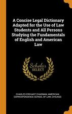 A Concise Legal Dictionary Adapted for the Use , Chadman, Law Hardcover-,