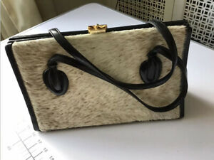 Rare Vintage Exclusive Waldybag Brown Hand Bag - White Goat Skin/fur  - 13 X 8