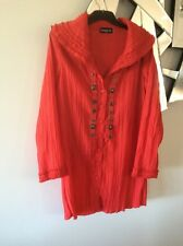 CORDELIA ST Red Formal Crushed Long Sleeve Over Shirt Top Jacket 10 12 PC