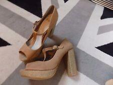 FAITH Carol Leather T Bar High Block Heel uk 8 RRP £58 Fab Condition