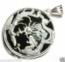 Fashion Black jade silver dragon phoenix pendant necklace +Free chain