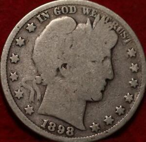 1898-S San Francisco Mint Silver Barber Half Dollar