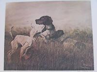 "Vintage John Le Roi Sheffer Hunting Dogs Signed Wall Art Print 1974 24"" x 18"""