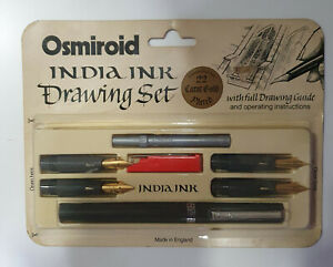 Vintage OSMIROID INDIA INK blister with 7 pieces Pen 22K Gold Plated UNOPENED