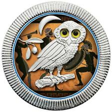 Niue 2 Dollar 2018 Eule von Athen - Antike Malerei (2.) 1 Oz Silber ST in Farbe