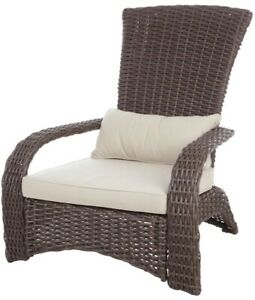 Adirondack Chair All-Weather Wicker Lightweight with 3 in. Thick Beige Cushion