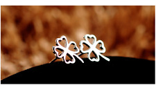 Shiny 925 Sterling Silver PL CutOut 4 Heart Leaf Clover Stud Earrings Lucky Gift