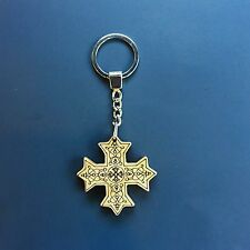 Laser carved wood Coptic cross keychain (2 in x 2 in)