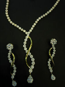 9.47 Cts Round Brilliant Cut Natural Diamonds Necklace Earrings Set In 14K Gold