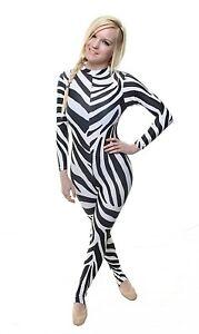 Catsuit Long Sleeves Polo Full Back Zebra Print Lycra - (ELSA)