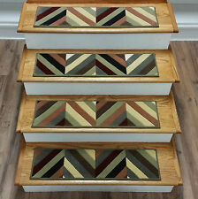 """Rug Depot 13 Contemporary Carpet Stair Treads 30"""" x 8"""" Staircase Rugs Multi Wool"""