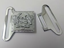 Genuine Ghana Police Force Insignia Large Silver Belt Buckle Chrome Plate MFP17