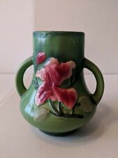 Beautiful Green Pottery Vase With Red Flowers
